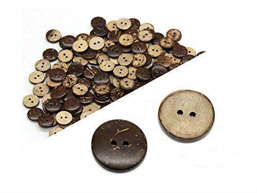 Akoak 100 Stück natürliche Kokosnussschalen-Knöpfe mit zwei Löchern, Nähzubehör, dekorative Knöpfe 15mm