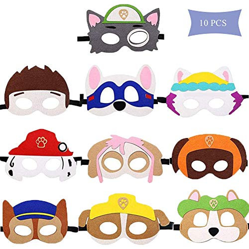 WELLXUNK Puppy Party Masken Paw Dog Patrol Spielzeug,10 Stück Kinder Cosplay Masken Cosplay Party Masken Geburtstag Augen Masken passen für Maskerade Halloween Dress Up Party Supplies