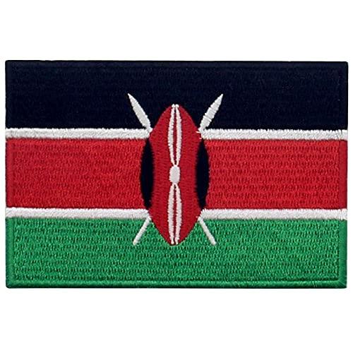 EmbTao Kenia Flagge Bestickter Aufnäher zum Aufbügeln/Annähen