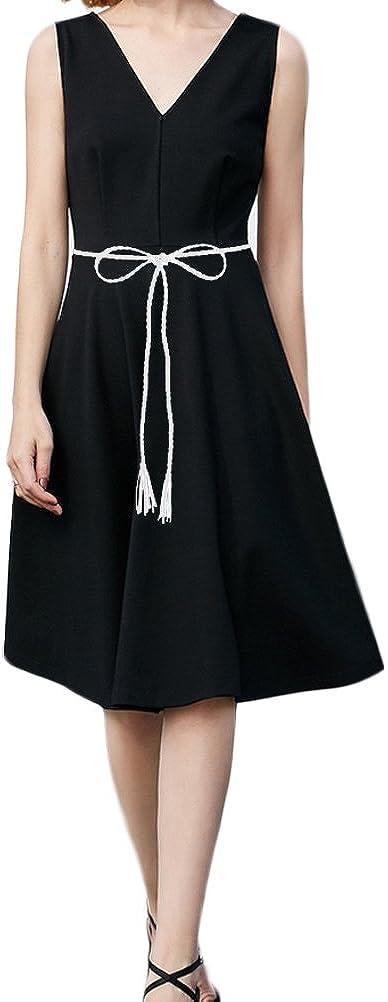Nanxson Damen Taillengürtel Gewebte Quasten Kettengürtel Leder Dünner Gürtel für Kleid PDW0042 Weiß