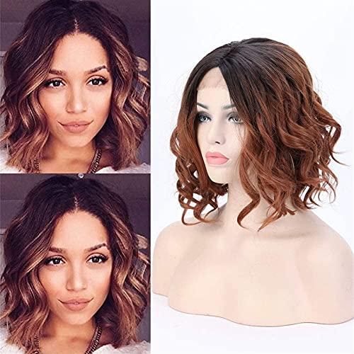 Peluca frontal de encaje corta Bob, pelucas sintéticas de Ombre, raíces oscuras, resistente al calor de la peluca ondulada rizada para las mujeres, el cosplay (negro a café marrón) chenghuax