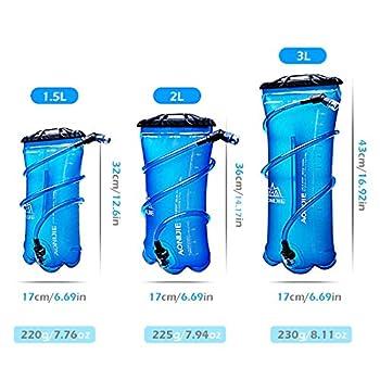 TRIWONDER Poche à Eau 1,5L 2L 3L Réservoir d'eau Souple Poche Hydratation Sac d'eau Vessie d'eau Sac Hydratation pour Running Marathon Randonnée Vélo (2L (TPU))