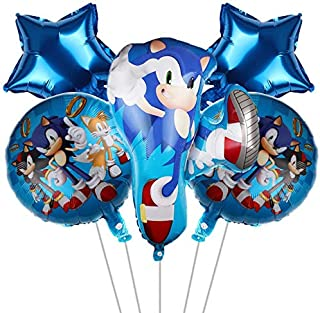5 PCS Sonic The Hedgehog Foil Balloons Birthday Party Supplies for Kids Sonic Theme Party Decorations, Kids Baby Shower Bi...