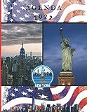 Agenda 2022: Semainier, journal, planificateur hebdomadaire, Dimension A5 17x22 cm, 111 pages, New York, bleu