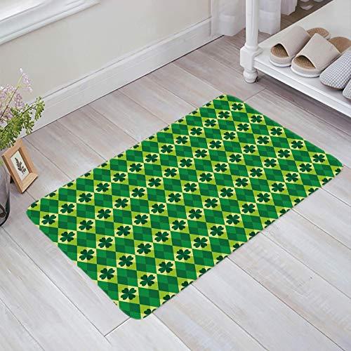 Alfombra estera del piso Tapetes Felpudo Feliz día de San Patricio Tréboles verdes Rombo Azulejo alfombras 40X60CM