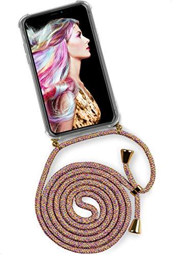 ONEFLOW Twist Case kompatibel mit iPhone 11 - Handykette, Handyhülle mit Band zum Umhängen, Hülle mit Kette abnehmbar, Rainbow