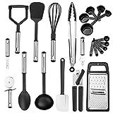 23 pezzi accessori cucina set,utensili cucina set mestoli cucina nylon utensili cucina con manico in acciaio inossidabile termoresistenti al calore e antiaderente strumento di cottura