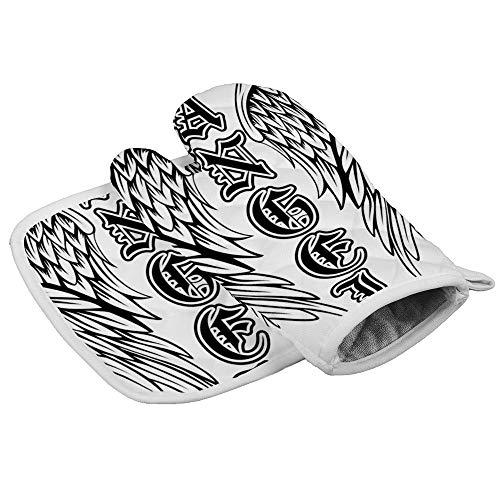 Bearget vleugels engel in de gotische stijl Oven wanten en pannenlappen hittebestendige oven Mitt anti-slip handschoenen voor het koken bakken grill