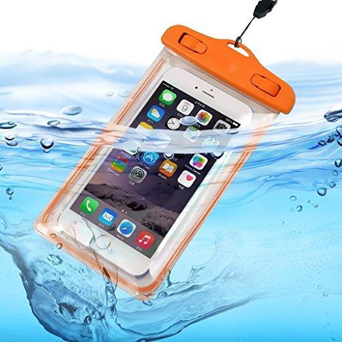 I-Sonite (naranja universal transparente teléfono móvil, pasaporte, dinero subacuático impermeable piscina, protección océano bolsa táctil sensible para Lenovo Yoga Tab 3 Plus 10