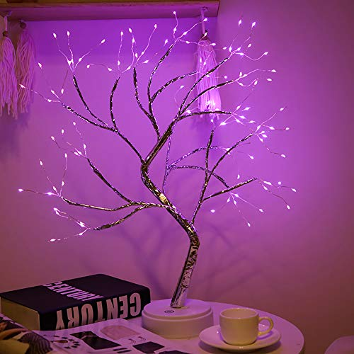 Hawiton Bonsai Tree Light Lamp Tabletop Decor, Copper Wire lamp | Table Bedside Decor LED Artificial Tree Light, Touch Switch Night Light for Home Party Living Room Bedroom Decoration Gift (Purple)