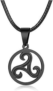 Triskele Kelten Amulett Herrenkette Männerkette Leder schwarz Lederkette Kette
