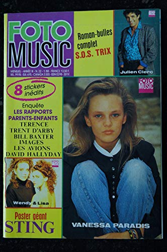 FOTO MUSIC 022 1988 COVER VANESSA PARADIS JULIEN CLERC TERENCE TRENT D'ARBY BILL BAXTER IMAGES + POSTER GEANT STING