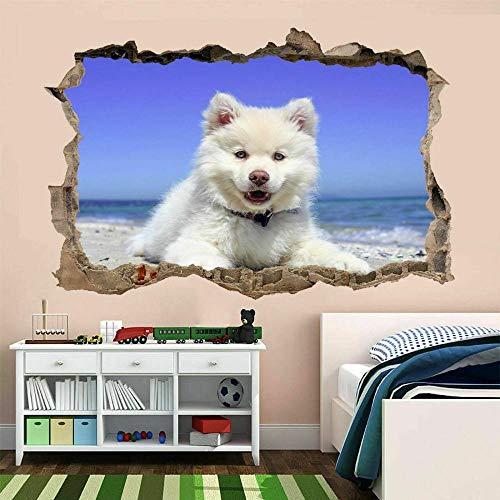 Pegatinas de pared Pegatinas artísticas de pared de la costa del mar del perro blanco, mural para niños, dormitorio, hogar, guardería, decoración, póster, papel tapiz- 60×90cm