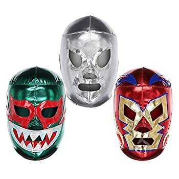 Pro-Quality Mexican Wresting Masks  3 Pack    Authentic Lucha Libre Costume - Adult Size   Mascaras de Luchador by Three Mask   Made in Mexico