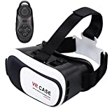 TekDeals Virtual Reality 3D Glasses Headset with Bluetooth Remote VR Goggle (Focal and Pupil Distance Adjustable) for 4-6 inches Smartphone iPhone Samsung Moto LG Nexus HTC, Black/White