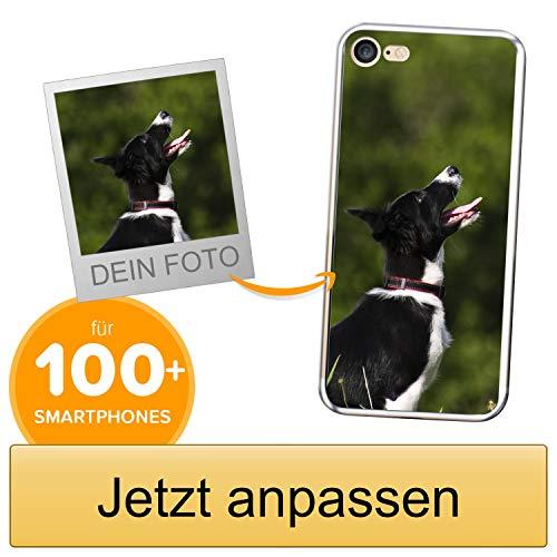 Coverpersonalizzate.it Handyhülle für Apple iPhone 7/8 mit Foto-, Bildern- oder Text selbst gestalten- Die Handyhülle ist aus weichem transparentem TPU-Silikon-Gel Material