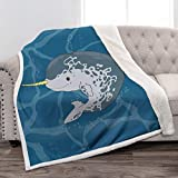 Jekeno Narwhal Sherpa Blanket Soft Warm Plush Fluffy Print Throw Blanket for Kids Gift Couch Bed 50'x60'