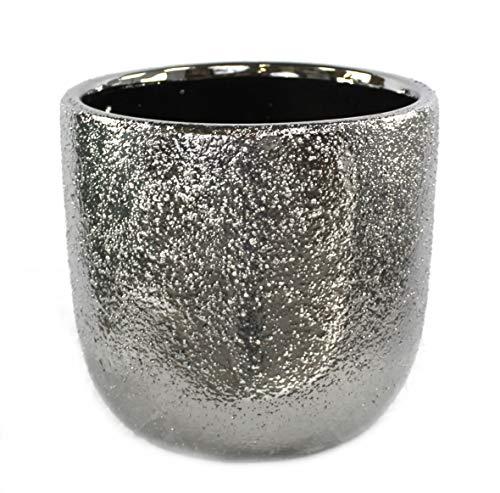 DARO DEKO Keramik Pflanz-Gefäß rund Ø 28cm x 26cm Silber