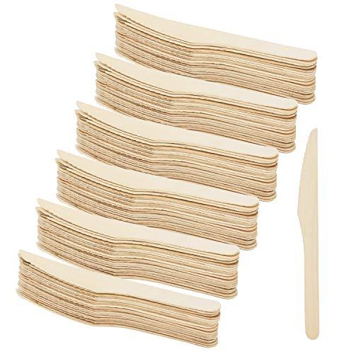 COM-FOUR® 120x houten mes wegwerpbestek, wegwerpmes van hout, het houten bestek is milieuvriendelijk gemaakt van hout en biologisch afbreekbaar - 16,5 cm (120 stuks - houten messen)