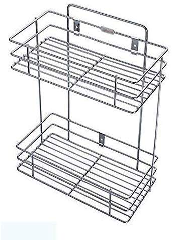 PYUWall Mount Stainless Steel 2 Layer Shelf Rack Stand For Kitchen Organization And Spice Rack