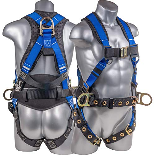 ATERET Fall Protection Full Body 5 point Harness, Padded Back Support, Quick-Connect Buckle, Grommet Legs, Back&Side D-Rings, OSHA ANSI Industrial Roofing Tool Personal Equipment (Blue - MD)