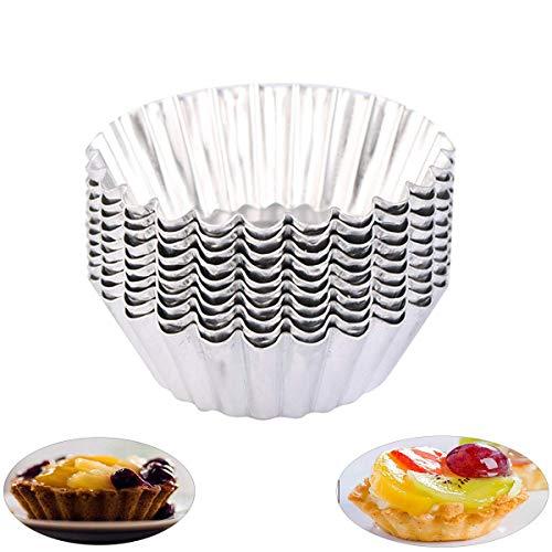 OBTANIM Stainless Steel Mini Tart/Pie Pans, 3 Inch Small Tart/Pie Pan Portuguese Tart Baking Mold Mini Tart/Pie Tins for Baking Supplies, Set of 20