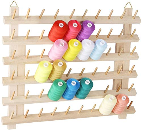 60 Spool Sewing Thread Rack with Hanging Hook, Wall Mounted Wooden Thread Holder Organizer for Sewing, Embroidery, Quilting, Hair Braiding