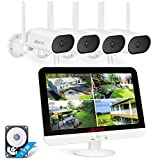 [180° Swivelling Camera] Wireless Surveillance Camera System with 13 Inch Monitor, ANRAN 5MP 8CH NVR via 4pcs 3MP Home WiFi CCTV Security Camera for Outdoor/Indoor, Motion Detection, 1 TB HDD