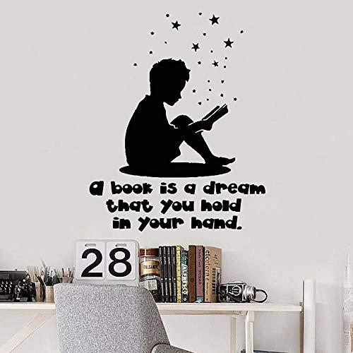 Chico Vinilo Pared Pegatina Libro Lectura Biblioteca Aula Pegatina Librería Art Deco Estrella Calcomanía 57X70Cm