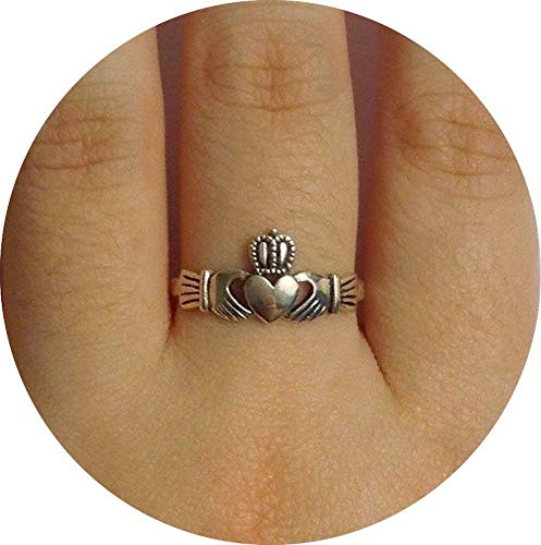 925 Sterling Silver Irish Claddagh Crown Love Heart Band | Celtic Friendship Promise Ring Sizes 5 to 9