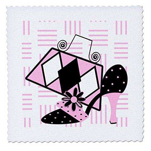 3dRose qs_124147_2 passende rosa und schwarze Schuhe und Geldbörse, quadratisch, 15,2 x 15,2 cm