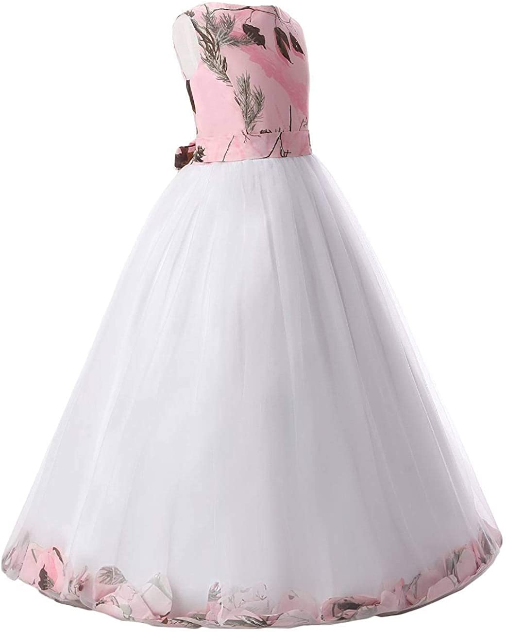 DINGZAN Pink Camo Ball Flower Girl Prom Dress Party Pageant Gowns White