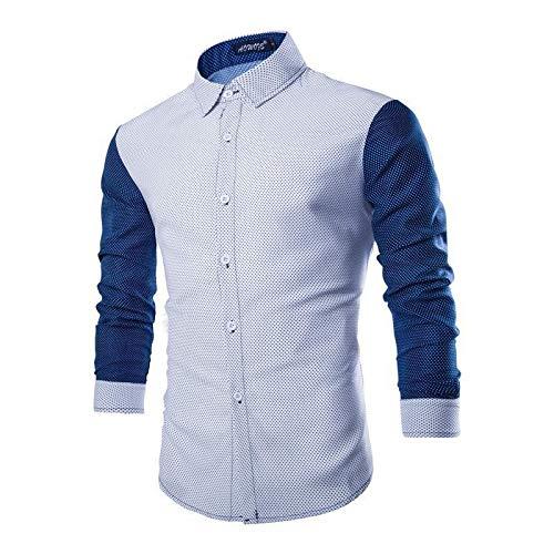 Camisas de Manga Larga para Hombre, Costuras de Moda, Color a Juego, clásico, Todo fósforo, cómodo, Informal, Simple, Camisa Regular, Tops 3XL