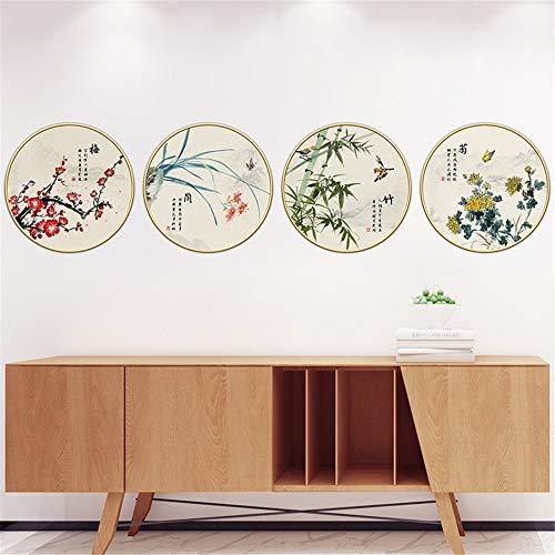 Muurstickers Chinese stijl pruim orchidee bamboe chrysant plant ronde fotolijst slaapkamer kamer woonkamer veranda decoratie zelfklevend