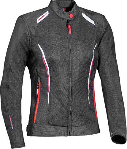 Ixon Cool Air - Chaqueta de mujer para moto, textil, color negro, blanco y rojo