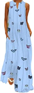 neveraway Women's Floral Printed Loose Bohemian V-Neck Cotton Long Dress