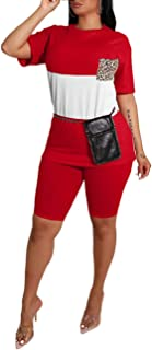 Salimdy Women's Casual 2 Piece Outfit Jumpsuits Short Sleeve Color Block Sweatshirt Short Pants Workout Set Tracksuit