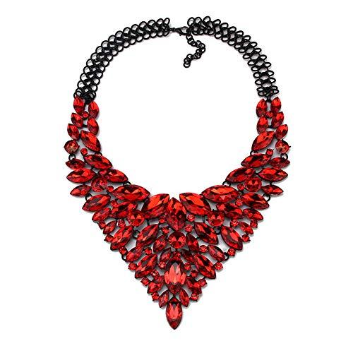 Yazilind Statement Bib Neckalces 3 Farben für Frauen Kostüm Handgemachter Schmuck Bekleidungszubehör Rot