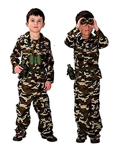 Traje militar - disfraz - carnaval - halloween - asalto de camuflaje - soldado - ejército - color marrón - niño - talla l - 7-9 años - idea de regalo para navidad y cumpleaños