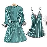 Pijama De Satén Para Mujer,Moda Señoras Sexy 2 Piezas Sueño Set De Mujer Kimono Vestido De Seda Satinado Pijama Y Pijamas Conjunto Casual Encaje Patchwork Elegante Verde Cabestrillo Cómodo Simpl