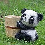 LONG-L Panda Blumentopf Dekoration,Handgemachte Süße Schwarz-Weiße Bärenstatue,Sukkulenter...
