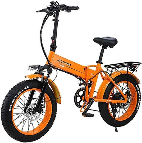 CASTOR Bicicleta electrica Bicicleta eléctrica Plegable de Playa y Nieve, neumático Gordo Grande de 20 Pulgadas 48V500W, 12.8Ah Batería de Litio, Macho Adulto Mountain Bike