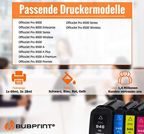 4 Bubprint Druckerpatronen kompatibel für HP 940XL 940 XL für OfficeJet Pro 8000 Enterprise Wireless 8500 Premier 8500A Plus Premium Schwarz Cyan Magenta Gelb Multipack
