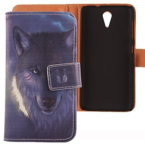 Lankashi PU Flip Leder Tasche Hülle Hülle Cover Schutz Handy Etui Skin Für HTC Desire 620 620G / 820 Mini Wolf Design