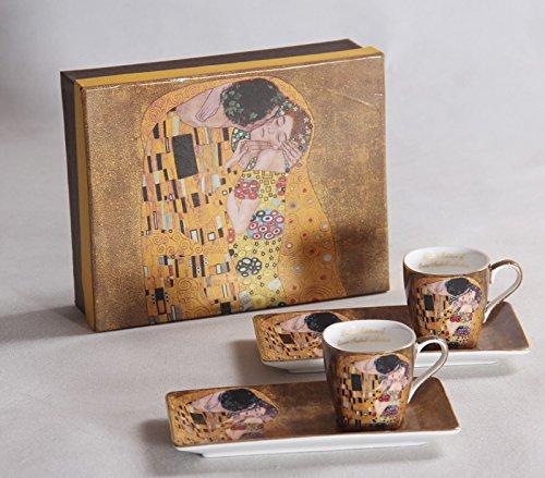 Atelier Harmony Gustav Klimt Espressoset Der Kuss beige 4teilig Geschenkset