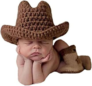 Shinystar Baby Photography Prop Crochet Knit Brown Cowboy Hat Boots Set (Style 3)