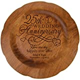 LifeSong Milestones Personalized 25th Wedding Anniversary Plate Gift for Her, Happy 25 Year Anniversary for Him, 12' D Custom Engraved for Husband or Wife USA Made (25th Year with Hearts)