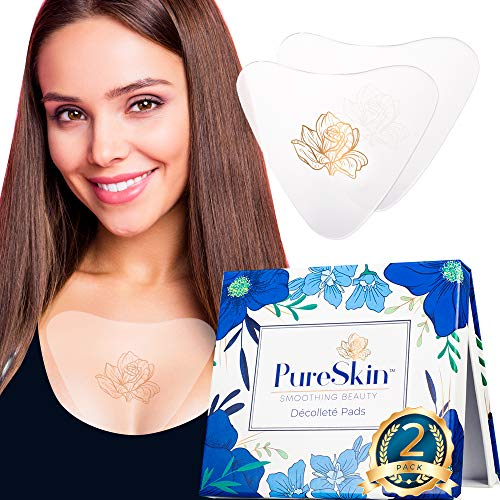 Chest Wrinkle Pads- PureSkin-Decollete Anti Wrinkle Chest Pads–2 PACK -Long Lasting, Overnight Result | Silicone Chest Wrinkle Pads Reusable | Chest Wrinkle Patches