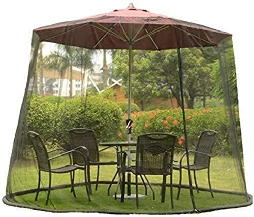 AIIOW Mosquitera para Sombrilla De Patio Jardín Mosquito a Las compensaciones Altura y diámetro Ajustable - Fits 9-10FT Paraguas y Patio Tablesols