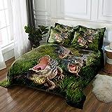 3 tlg. Bettbezug mit bettwäsche 155x220cm Drucken 2 Kissenbezügen 80 x 80 cm Krokodil Hochwertiger Stoff Falten- und Verblassungsbeständig Atmungsaktive Baumwoll